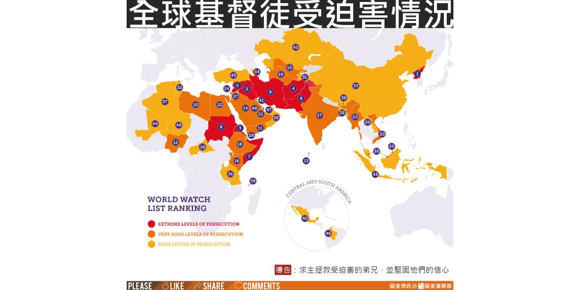 全球基督徒受迫害情況 持續惡化